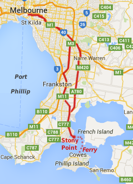 Driving from Melbourne to Stony Point