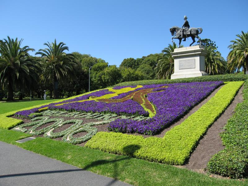 Gardens around Melbourne feature colourful flowers in the Commonwealth Games theme, including the Marquis of Linlithgow monument on St Kilda Road Gardens around Melbourne feature colourful flowers in the Commonwealth Games theme, including the Marquis of Linlithgow monument on St Kilda Road