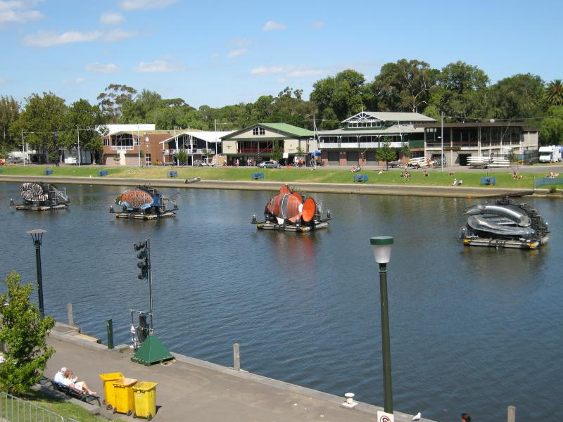 Closer view of the sea creatures set up along the Yarra River