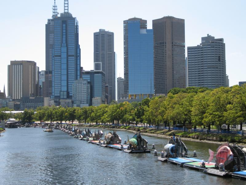 View north-west along the Yarra River and towards the city centre skyline with the sea creatures situated on the river